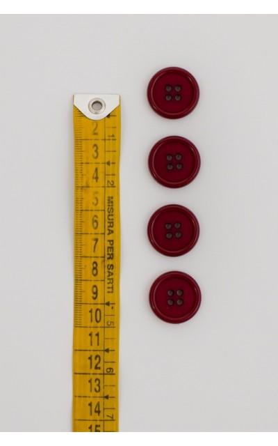 Bottone classico 4  fori  20mm bordeaux