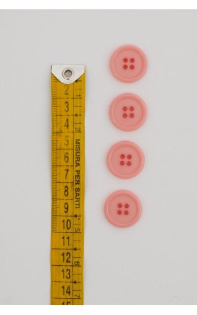Bottone classico 4  fori  20mm rosa