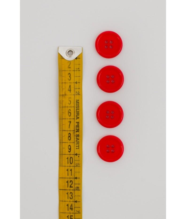 Bottone classico 4 fori 20mm Rosso