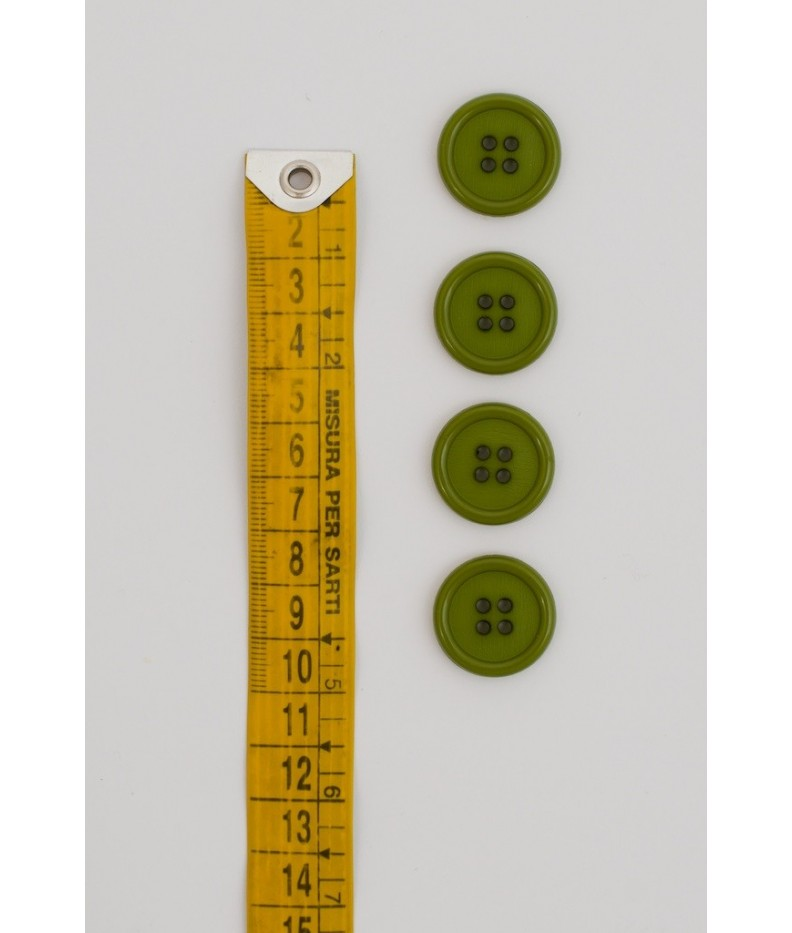 Bottone classico 4  fori  20mm verde