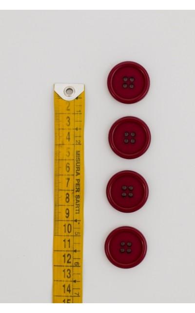 Bottone classico 4 fori 25mm Bordeaux