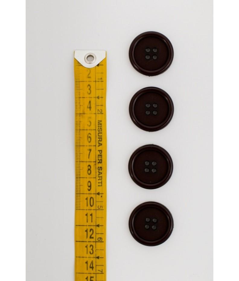 Bottone classico 4  fori  25mm marrone scuro