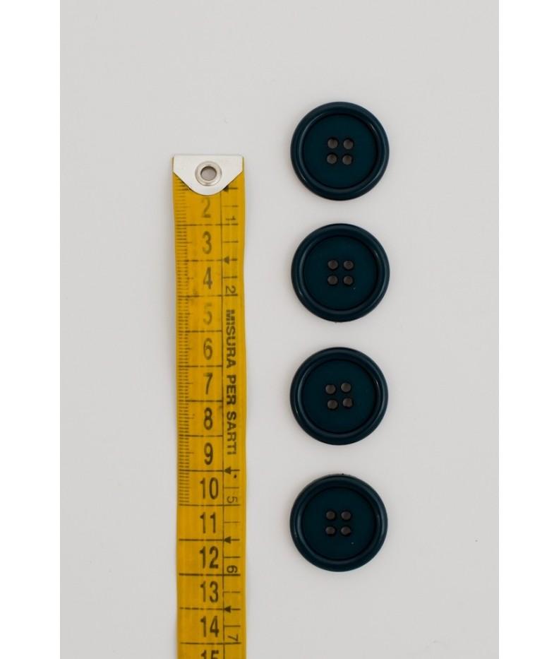 Button basic 4 holes 25mm Petrol Blue