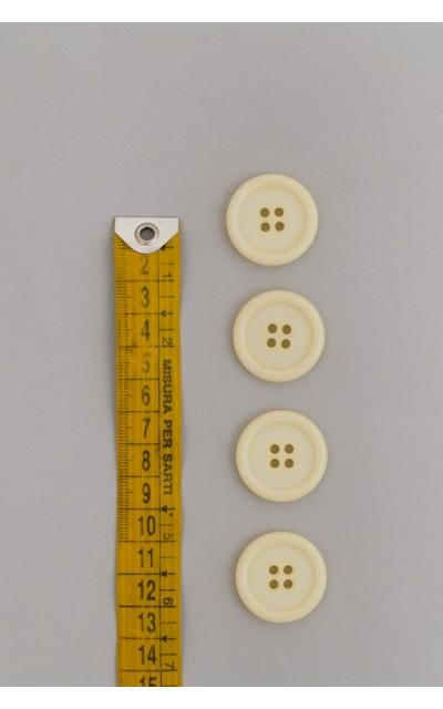 Bottone classico 4  fori  25mm Panna