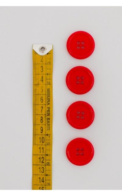 Bottone classico 4  fori  25mm Rosso