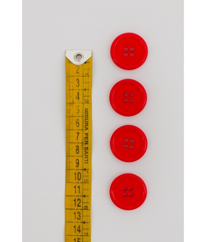 Button basic 4 holes 25mm Red