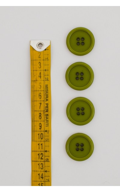 Button basic 4 holes 25mm Green