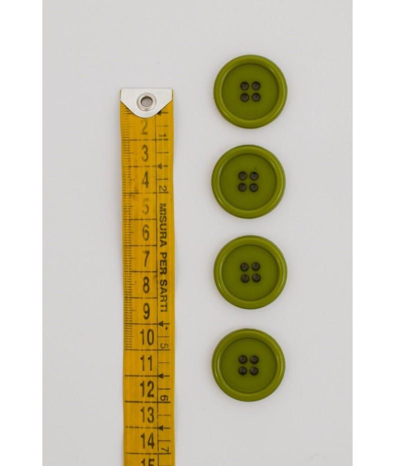 Bottone classico 4  fori  25mm Verde