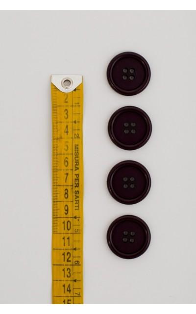 Bottone classico 4  fori  25mm Viola scuro