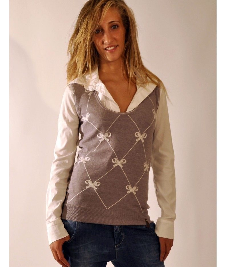 Eccezionale Gilet in maglia jersey scollo tondo stampato con fiocchi made in  FP77
