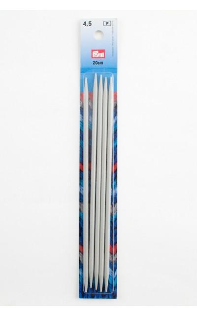 Strumpfstricknadeln, Aluminium 4,5 mm 20 cm