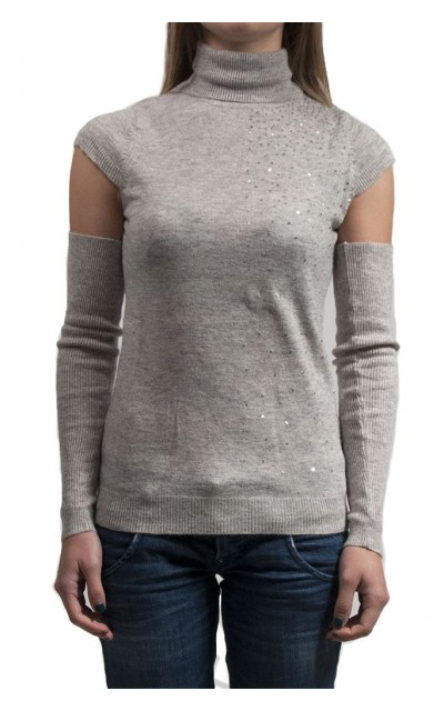 Pull pailettes mixed angora wool