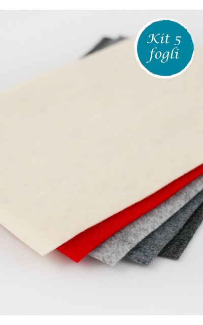 5 sheet of felt polyester with velour effect 2mm