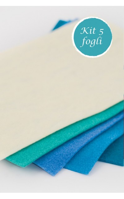 Kit 5 sheet of felt 2mm 20x30 - 50x50 - 50x75 polyester