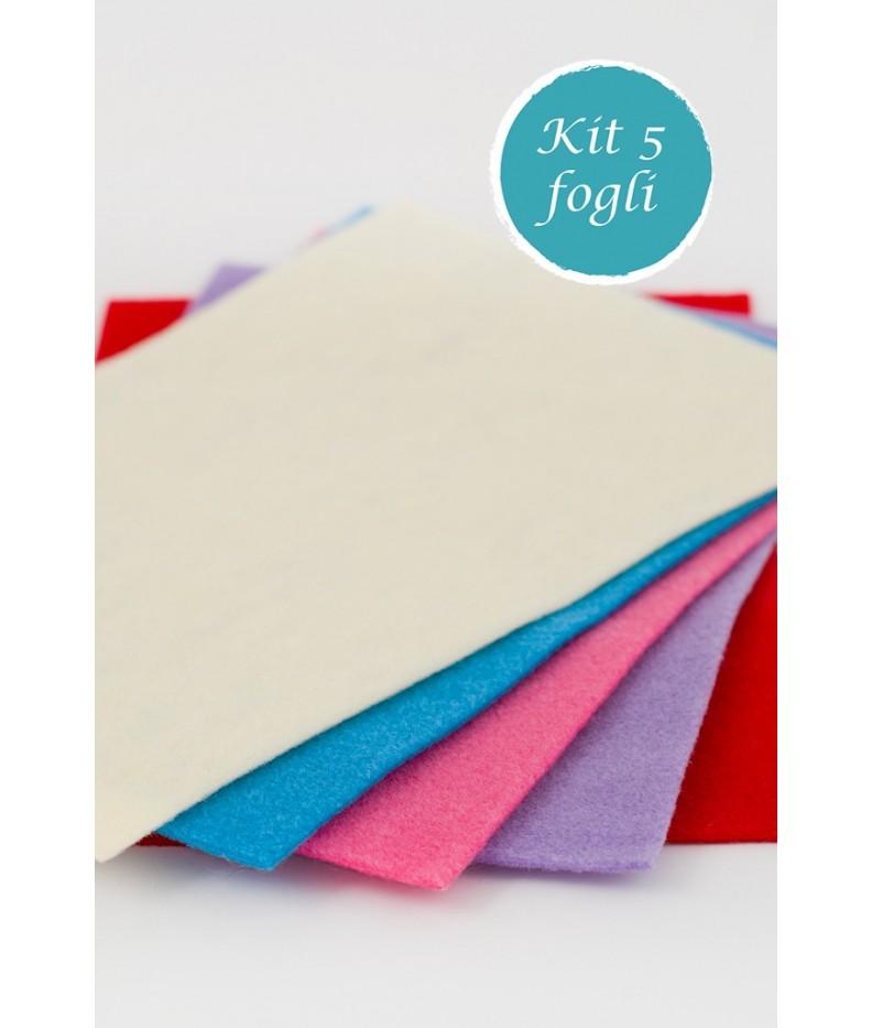 Kit 5 Blatt aus Filz 2mm 20x30 - 50x50 - 50x75 polyester