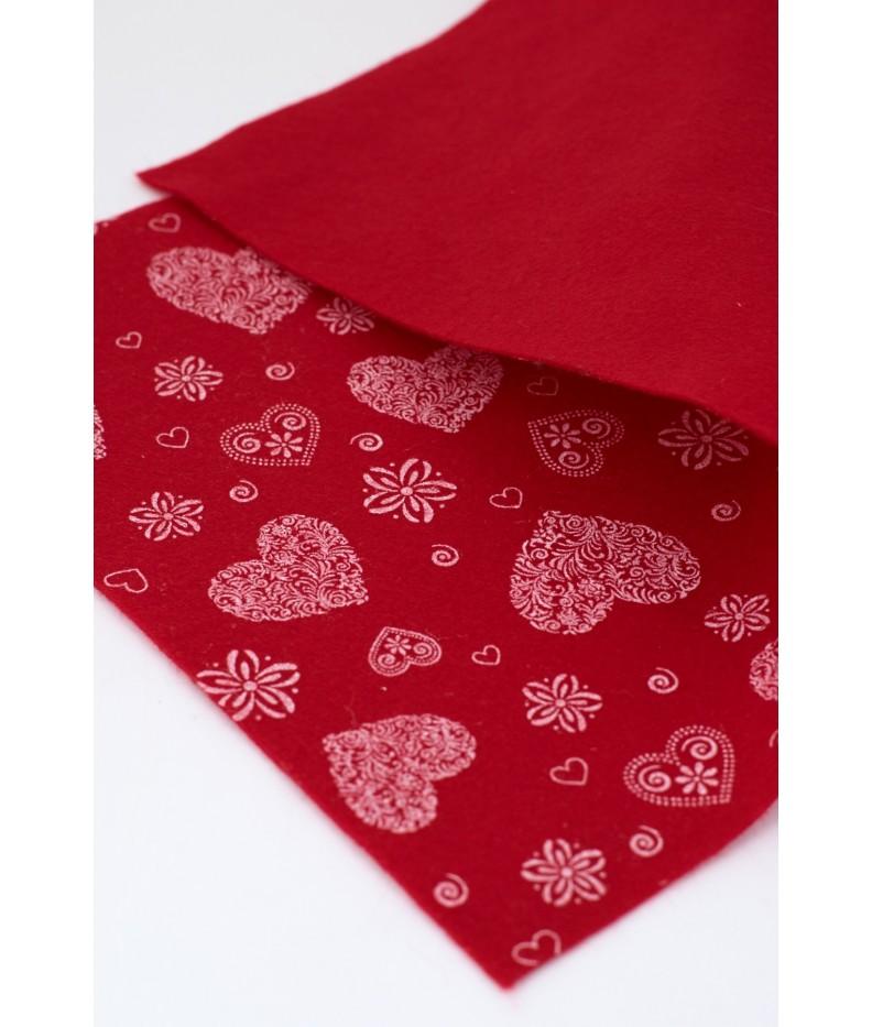 Tuch filz stoff Romantisch gedruckt 010 rot