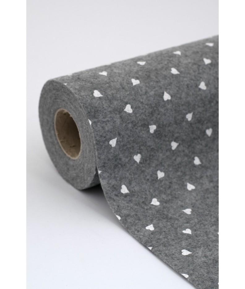 Tuch filz stoff herzen gedruckt  20x30cm