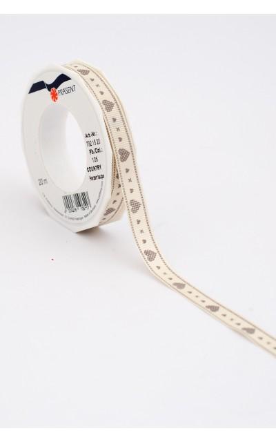 "Stoffband ""Herzen"" Taupe, 15mm, 20m"