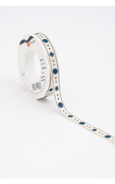 """Stoffband """"Knopf"""" Blau, 15mm, 20m"""