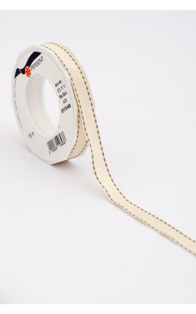 "Stoffband ""Stich"" Taupe, 15mm, 15m"