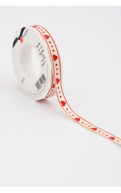 "Ribbon ""Heart"" Red, 15mm, 20m"