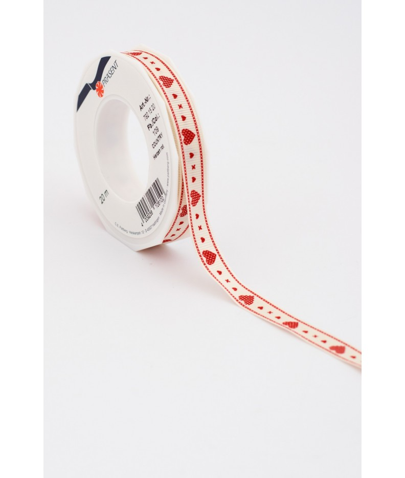"""Ribbon """"Heart"""" Red, 15mm, 20m"""