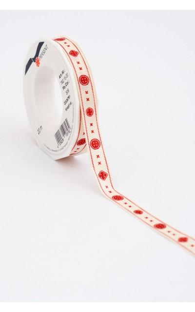 "Stoffband ""Knopf"" Rot, 15mm, 20m"