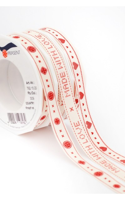 "Ribbon Kits ""Country"" Red, 15mm, 3x20mt"