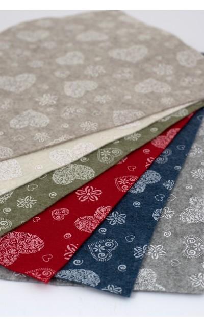 Tuch filz stoff Romantisch gedruckt  45x50cm