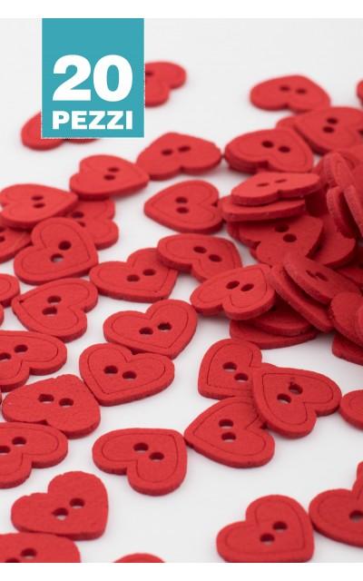 Felt buttons heart 20 pieces
