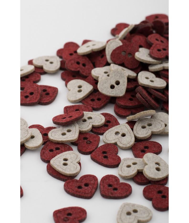 Felt buttons heart 2 colors 20 pieces