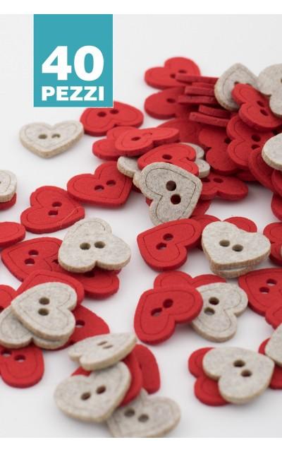 Bottone cuore 2 colori 40 pezzi