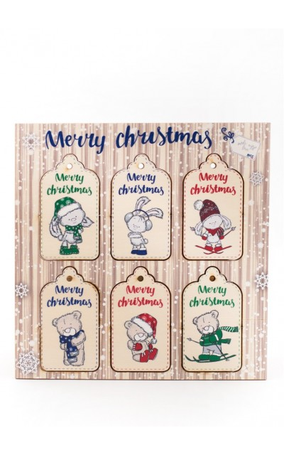 Wooden tag Merry Christmas - 002