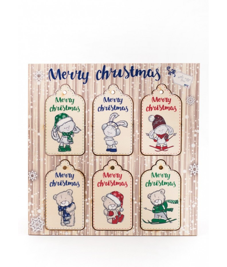 Tag in legno Merry Christmas - 002