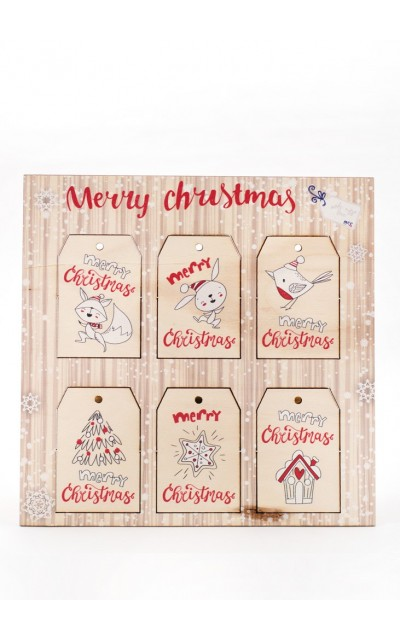 Wooden tag Merry Christmas - 005