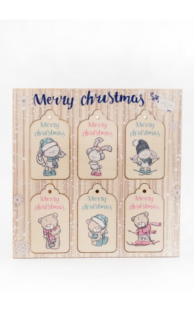 Tag in legno Merry Christmas - 001