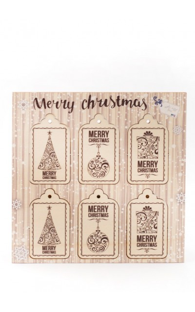 Tag in legno Merry Christmas - 006