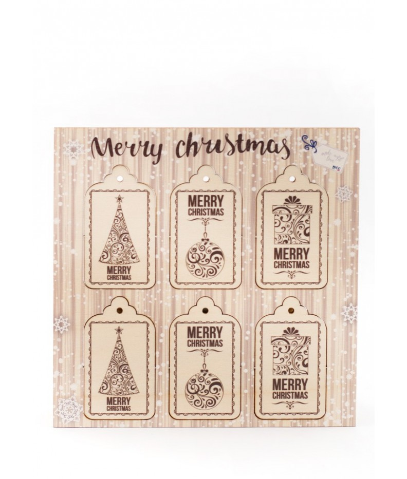 Wooden tag Merry Christmas - 006