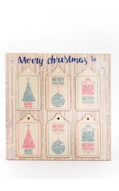 Tag in legno Merry Christmas - 007