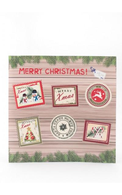 Set di 6 adesivi Francobollo Merry Christmas
