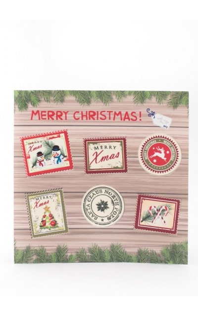 6 Stickers Stamp Merry Christmas