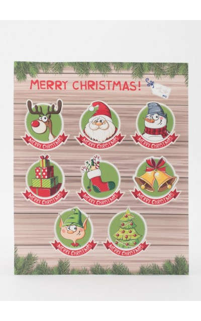 Set di 8 adesivi Fantasia Merry Christmas