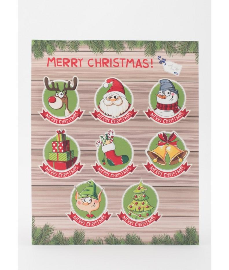 8 Stickers Fantasy Merry Christmas