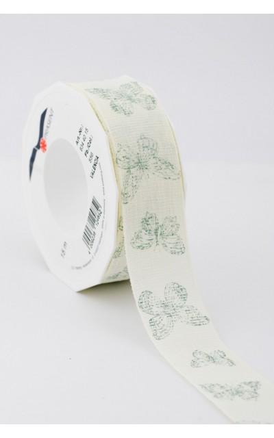 Stoffband Schmetterling  Grün 40mm