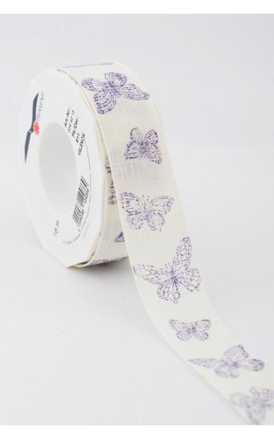 Stoffband Schmetterling  viola 40mm