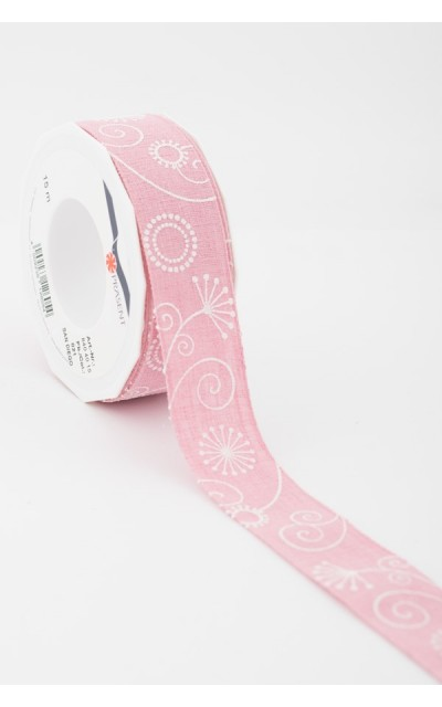 Stoffband Fantesie rosa 40mm