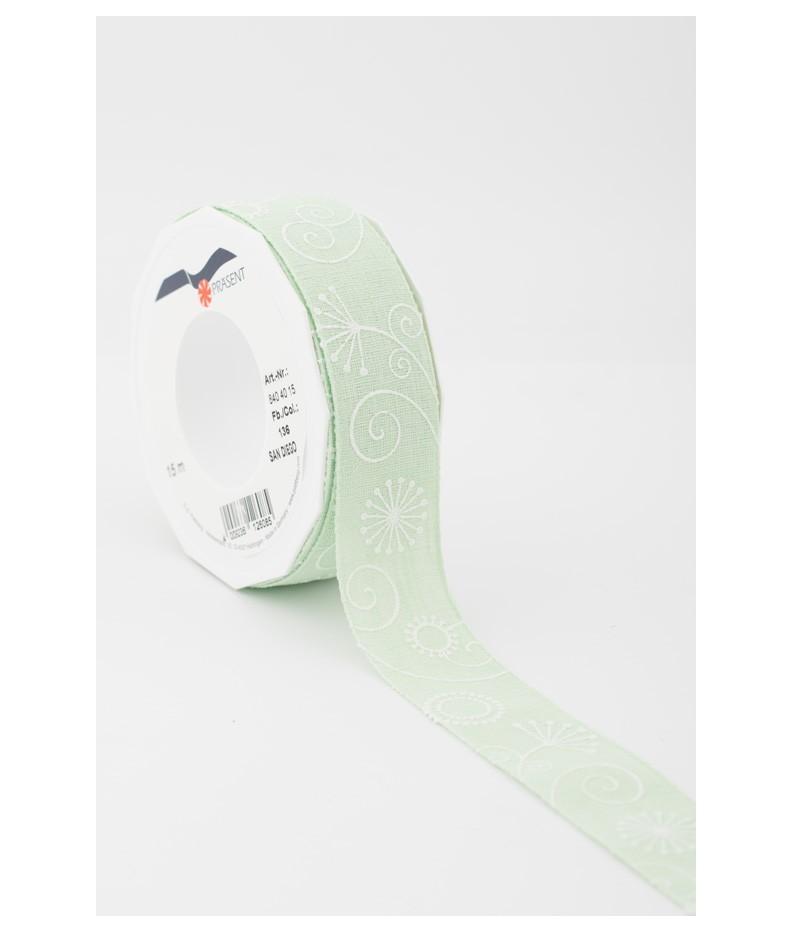 Nastro Fantasia verde chiaro  40mm