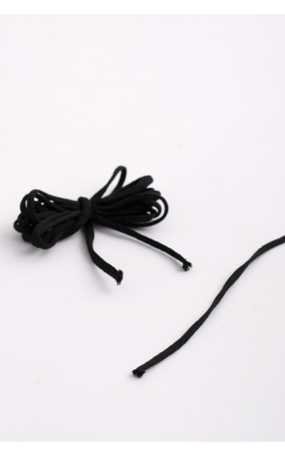 Flat elastic black for masks  - 10 meters